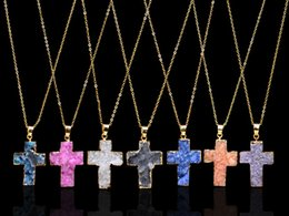 Wholesale Natural Gemstone Crosses - 2017 Natural crystal original stone Healing Point Chakra Gemstone cross Necklace geometric original natural stone Pendant Necklaces Jewelry
