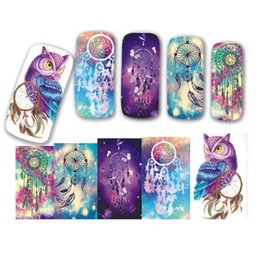 Wholesale image stickers - Wholesale- 1 Sheet Water Transfer Nail Art Sticker And Decal Cartoon Blue Owl Beauty Fantasy Image Polish Gel Watermark DIY Tips STZ437-438
