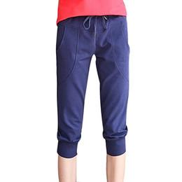 Wholesale Women S Fitted Cargo Pants - Women Fit Pants Leisure Thin Knee Length Women Capris Pants Summer Slim Casual Leisure Harem Pants Plus size S-XL 4 Colors