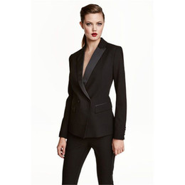 Womens Business Work Pant Suits Set Blazer Formal Slim OL Elegant Double  Breasted Female Office Uniform Evening 2 Piece Set 50f51642b690