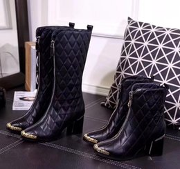 Wholesale Red Diamond Boots - Classic Women Diamond Soft Lambskin Ankle Boots Luxury Brand Rose Rivets Short Long Boots High-heeled Pumps 5 Styles Botas Original Box