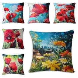 Almohadas hermosas online-hermosa cojín floral cubierta pintura estilo flor roja funda de almohada moderna almofada decorativo 45cm algodón cojines