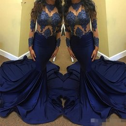 Wholesale Little Girls Party Evening Dresses - 2017 New Sexy Navy Blue Prom Dress Long for Black Girls Sheer Lace Beaded Top Long Sleeves Sweep Train Formal Evening Party Gown