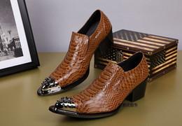 Wholesale Boot Irons - Wholesale- ntparker Super Handsome Handmade Men Genuine Leather Shoes men shoes Dress Business Shoes High Heels Iron Toe Fashion Men Shoe