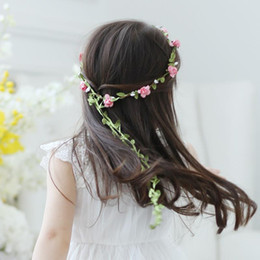 Wholesale Purple Flower Girl Headbands - Baby Girls Children Headbands Flower Leaf Bohemian Flower Festival Christmas Floral Garland Hair Band Headwear For Girl Jewelry Accessories