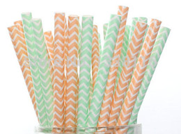 Wholesale Orange Paper Straws - Wholesale-100pcs Light Orange and Mint Green Party Paper Straws Mixed 2 Patterns,Party Supplies Paper Drinking Straws wholesale