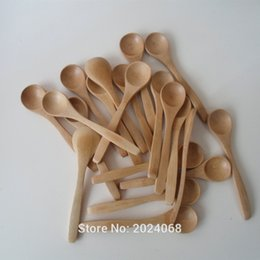 Wholesale Wholesale Honey Spoons - wholesale 20pcs pack 5.1inch wooden spoon Ecofriendly Japan Tableware Bamboo scoop Coffee honey tea spoon Stirrer free shipping