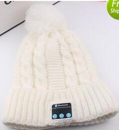 Wholesale Peaches Music - 2016Bluetooth music hat soft warm hats Warm wool hat handsfree headphone cap Autumn and winter knitting wool hat Newest 5 colors