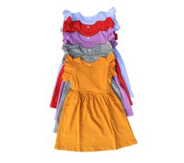 Wholesale White Baby Blankest Wholesale - Baby girls knitting lap dress sleeveless plain children girls blank cotton ruffle boutique dresses in many colors