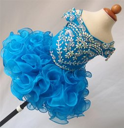 Wholesale Infant Toddler Glitz Pageant Dresses - 2017 Sparkly Bling Flower Girl for Party and Wedding Cupcake Dresses Girls Glitz Pageant Dresses Infant Toddler