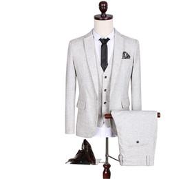 Wholesale Tuxedo Suits Men Printed Vest - Light Grey 2017 Groom Tuxedos Two Buttons Notch Lapel Slim Fit Mens Wedding Suit Groomsman Bridesman Formal Mens Suit Jacket+Pants+Vest
