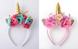 Wholesale Headbands Plastic Color - Multi Color Floral Unicorn Horn Ears Headbands, Unicorn Crown Golden Metallic horn Headba Flower Crown Unicorn Hot Sale 5pcs lot