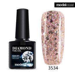 Wholesale Uv Gel Nails Glue - Wholesale-Modelones Soak Off Diamond Gel UV Glitter Nail Gel Polish Pink Color Glitter GelPolish Need UV Lamp Nail Glue Enamel Sequins Gel