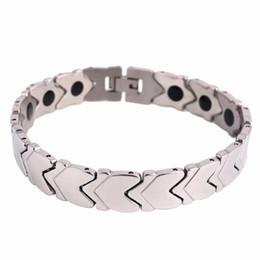 Männer element armband online-Trendy Healing Magnet Armband Armreif für Männer Edelstahl Gesundheitswesen Magnetic / Germanium Element Armband Armband Großhandel