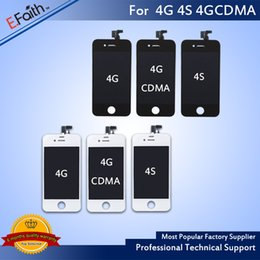 Wholesale Iphone Front Display Replacement - Wholesale-For iPhone 4 4S Front Assembly LCD Display Touch Screen Digitizer Replacement & Free DHL Shipping