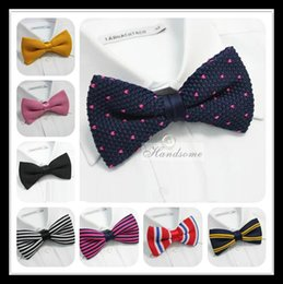 Wholesale Tuxedo Plaid Bow Tie - New Arrive HOT!Men Neck Knitted Bowtie Bow Tie 75 Color Pre-Tied Adjustable Tuxedo Bowtie Free Shipping