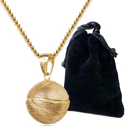 Wholesale Gold Woman Chains - 2017 Fashion Creative Basketball Pendant Necklace Gold Silver Plated Stainless Steel Chain Retro Necklace For Women Jewelry Accessories