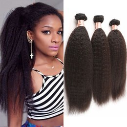 Wholesale Brazilian Stright - Brazilian Virgin Hair Weaves 3 Bundles Kinky Stright Human Hair Extensions Machine Double Weft FDSHINE HAIR