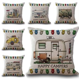 Wholesale Beige Throw - Carton Happy Campers Motor Home Pillow Case Cushion Cover Linen Cotton Throw Pillowcases Sofa Car Decorative Pillowcover PW566