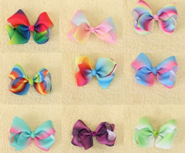 Wholesale Design Hair Bows - 18 Pcs Lot 3.5 Inch Girls Gradient Rainbow Ribbon Bow With Clip New Design Bowknot Barrettes Hairgrips Beautiful HuiLin AW12-9