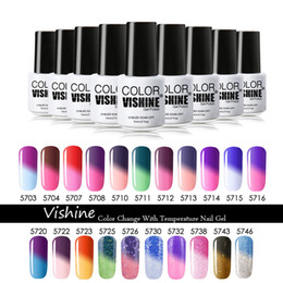 Wholesale Color Changing Nail Polish Temperature - Wholesale-Vishine nail polish color change temperature gel nail design DIY full set 35 colors available Soak off UV gel polish gel nails