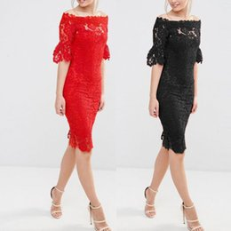 Wholesale Children S Strapless Dresses - 2017 Europe Station Suit-dress High-quality Temperament Grace Sexy Lace One The Word Strapless Dress Quality woman dresses models
