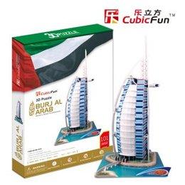 Wholesale Burj Al Arab 3d Puzzle - CubicFun 3D puzzle paper model children gift DIY toy Dubai Burj Al Arab Hotel hardcover MC101h world's great architecture sail