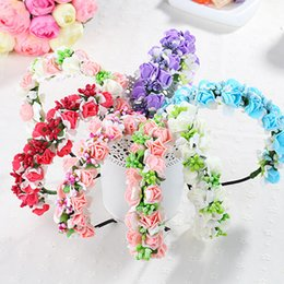 Wholesale Garlands Vintage - Korean Hair Accessories Garlands Fashion Vintage 3D Flower Floral Hoop Clasp Kids Audlt Flower Girl Party Beach Hair Sticks Hairband A6639