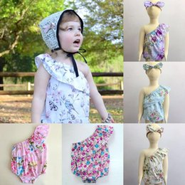 Wholesale Childrens Jumpsuits - baby girl summer off shoulder baby rompers floral kids jumpsuit + flower headbands bows girls boutique clothing sets childrens clothes