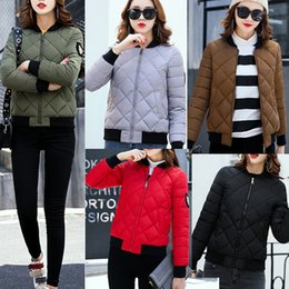 Wholesale Zip Up Winter Parkas - 2017 Winter Women Warm Thicken Short Down Cotton Padded Zip Coat Stand-Up Collar Jackets Parka Overcoat Outerwear 5 Colors 4 Sizes