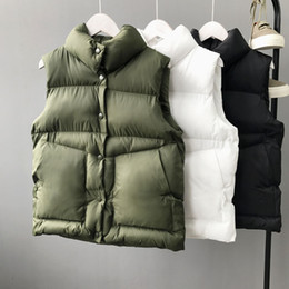 Wholesale Korean Girl Down Jacket - Korean Vest Womens Girls Autumn Winter Vest Waistcoats Jacket Sleeveless Warm Thick Overcoat Down Cotton Padded New Arrival M L XL White