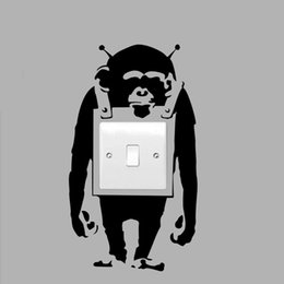 Wholesale Large Vinyl Wall Stickers - 2017 Hot Sale Cool Graphics Trendy London Banksy Monkey Graffiti Art Light Switch Vinyl Wall Sticker Decal Jdm