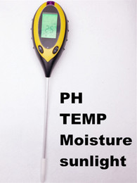 Wholesale Temperature Meter Display - Wholesale- LCD Display 4 In1 Plant Flowers Soil Survey Instrument PH Meter Temperature Moisture Sunlight Tester For Agriculture