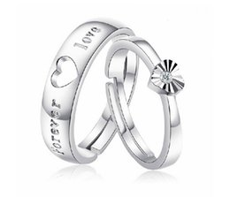 Wholesale Rings Men 925 - 925 Sterling Silver Womens Jewellery Adjustable Couple Ring Heart Wedding Engagement Rings for Men J486