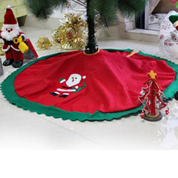 Wholesale Fabric Christmas Tree Ornament - Wholesale- Dia 95cm Santa Claus Skirt 2016 Creative Gifts Christmas Tree Skirts Halloween decorations Home Decor Non-woven Fabric supplies