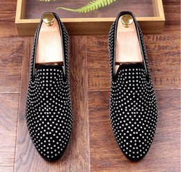 Wholesale Studded Heels Pointed - 2017 Fashion European style Casual Formal Shoes For Men Black Genuine Leather Men Wedding Shoes Gold Metallic Mens Studded Loafers
