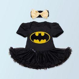 Wholesale Girls Superman Style Romper - Baby superman batman clothes short sleeve lace Baby Romper tutu Dress Headband baby Girl Clothes bebe Clothes vestidos dress