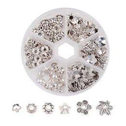 Wholesale Wholesale Filigree Supplies - 1Box Metal Flower Bead Caps Vintage Filigree DIY Jewelry Making Findings Mixed Silver Plated Accessories components supplies