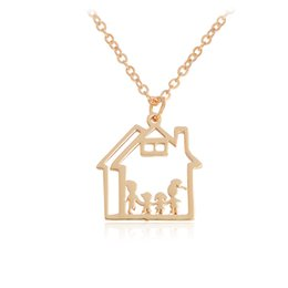 Wholesale Silver House Pendant - Mother Father Child in the House Pendant Necklace Rose Gold Silver Color Family Necklaces For Women Men Life Jewelry