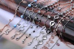 Wholesale Crystal Diamond Beads Wholesale - New tassel Crystal Bead Bracelet anklets Women Luxury Leaf CZ Diamond Bracelets Bangle Trendy Jewelry Free Shipping 65