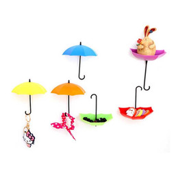 Wholesale Small Wall Hooks - 3pcs Creative Free Nail Storage Hook Umbrella Shaped Single Wall Hooks Small Decorative Home Decor