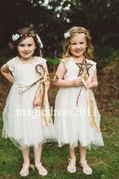 Wholesale Cheap Modern Flower Girl Dresses - Modern White Ball Gown Flower Girl Dresses for Bohemia Wedding Puffy Tulle 2017 V-Neck Cap Sleeve Cheap Girls Pageant Dresses for Communion