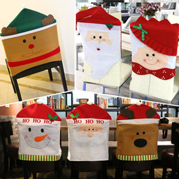 Wholesale Wholesale Dinner Party Supplies - Christmas Decorations Santa Claus Red Hat Snowman Elk Chair Back Covers Xmas Gift Dinner Decoration Party Supply Cloth Chair Decorations