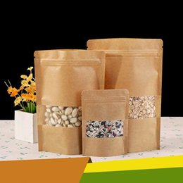Wholesale Paper Snack Bags - Kraft paper bags Stand up Pouch With window Kraft small retail bag Food grade Moisture proof For Snack Cookie Beans Candy etc.