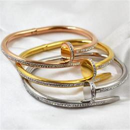 Wholesale Korea Fashion Nail - Gold Diamond Bracelet Korea Nail Hot Sell Bangle Fashion Gold Rose Gold Plated Bracelets Nail Cuff Crystal Bangles for Women
