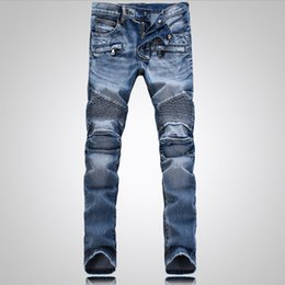 Wholesale Chinese Fashion Jeans - 2017 New Tide Brand Men's Jeans Mens Straight Ripped for High Quality Denim Bike jeans Fashion Designer Pants Slim Fit Trousers