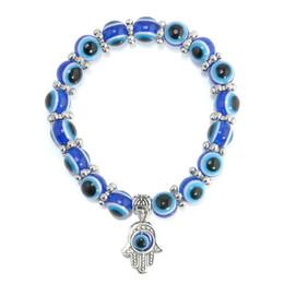 Wholesale Evil Eye Rhinestone Bracelet - 2017 new Vintage boho alloy evil blue eye bracelets Bangle Fashion Wholesale Fatima hand big Beaded bracelet for Women Jewelry free shipping