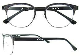 Wholesale Eye Glasses Temple - New Brand Designer Eyeglasses Frame Vintage Eye Glasses Clear Lens Reading Eyewear Frame Metal Temples Optical Glass