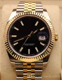 Wholesale 41 Mm - Mens Classic 126333 Yellow Gold Blk Dial Stainless Steel Bracelet 2813 Sport Ceramic Dial Automatic Mechanical 41 mm date Basel Watches.