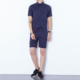 Wholesale Korean Style Harem Pants - 2018 Summer Men Boyfriend Jumpsuits Korean style singer costumes black and blue Military Cargo Pants Fashion stripe Bib Overalls